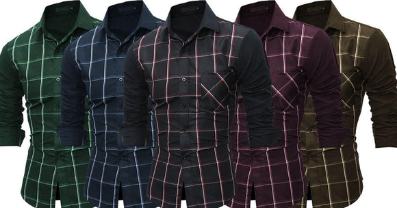 Comb of 5 New Patchwork classic long sleeves Slim Fit Casual man's Shirts