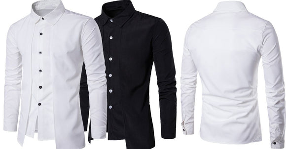 Combo of 2 Branded Luxury Stylish Slim Fit with Long Sleeve Black and white color Tops Corrective Fake 2-Item Shirts for Men