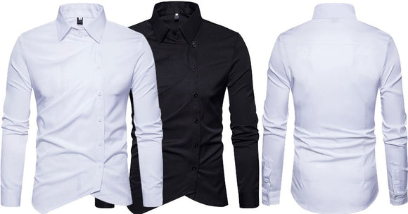 Combo of 2 Black and white Inclined Button Solid Color Slim Fit Men's Vogue Shirts