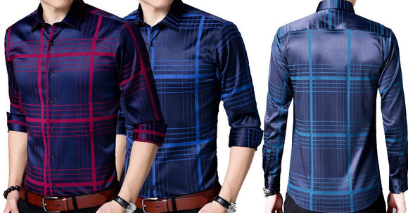 Combo of 2 Casual striped unique pattern slim fit long sleeve shirt's for Men