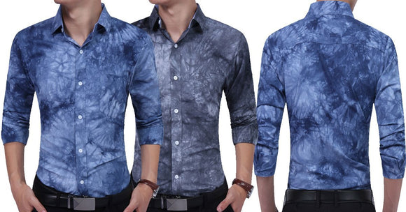 Combo of 2 Branded long sleeves Casual Tie Dye Print Slim Fit Shirts for men
