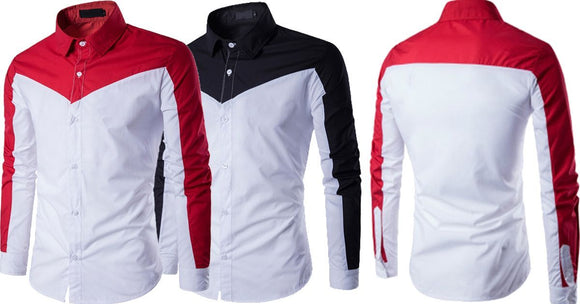 Combo of 2 Branded Double Color Block Slim-fit Men's Leisure Shirts