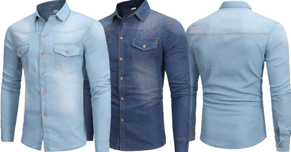 Combo of 2 Branded Vintage Cotton Slim Fit Men's Fashionable Shirts