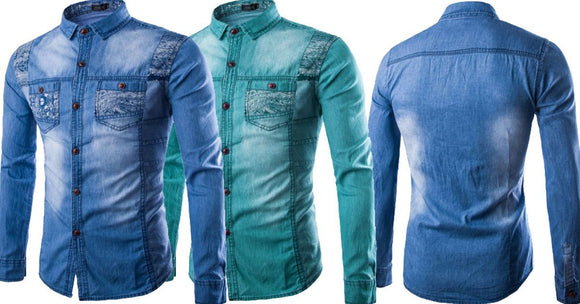 Combo of 2 Branded Patchwork Slim Long Sleeve Men's Fashionable Shirt