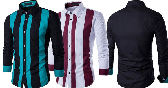 Combo of 2 Branded Fashionable Stripe Color Block Slim Men's Button Shirts