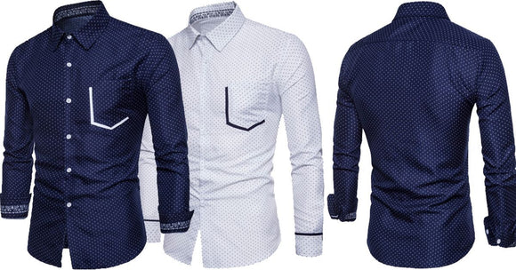 Combo of 2 Branded Classic Polka Dots Color Block Pocket Slim Fit Men's Shirts