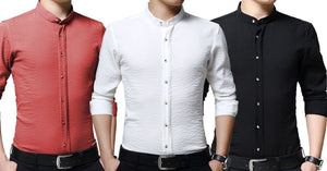 COMBO OF 3 New branded Wrinkle Design Casual slim fit with long sleeves shirts for men