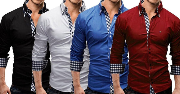 Branded Combo of Lapel Fine Plaid Printed Slim Fit Men's Leisure Shirts (Pack of 4 shirts)