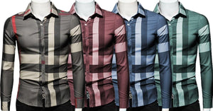 Combo of 4 New Fashion Plaid Casual Long Sleeve Slim Fit Men's shirts