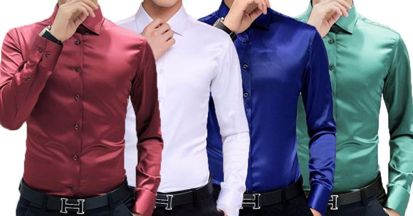 Combo of 4 New Fashionable Party wear Slim fit Solid Color Shirts.