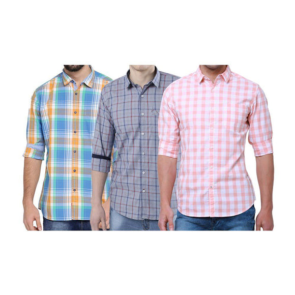 Combo of 3 Multi Color Cotton Blend Checks Shirts for Men