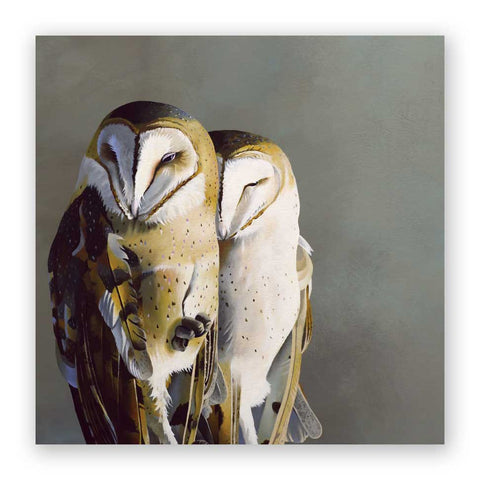 10 x 10 Snowy Owl Wings on Wood Decor
