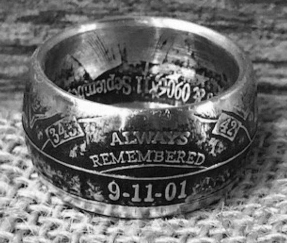 Silver 911 remembrance Coin-Ring size 9-21