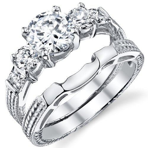 .925 Women's Engagement Wedding Ring Set - 07AB03