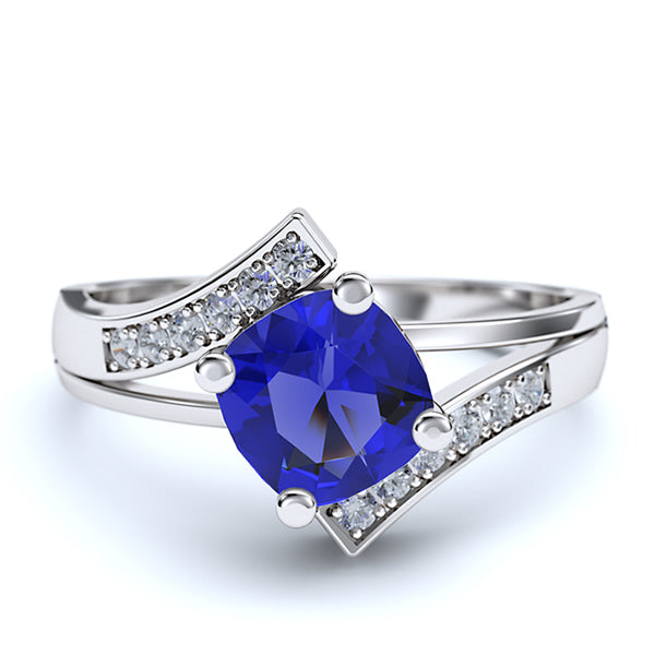 Sapphire and Round Diamond Curved Ring - 22GG15