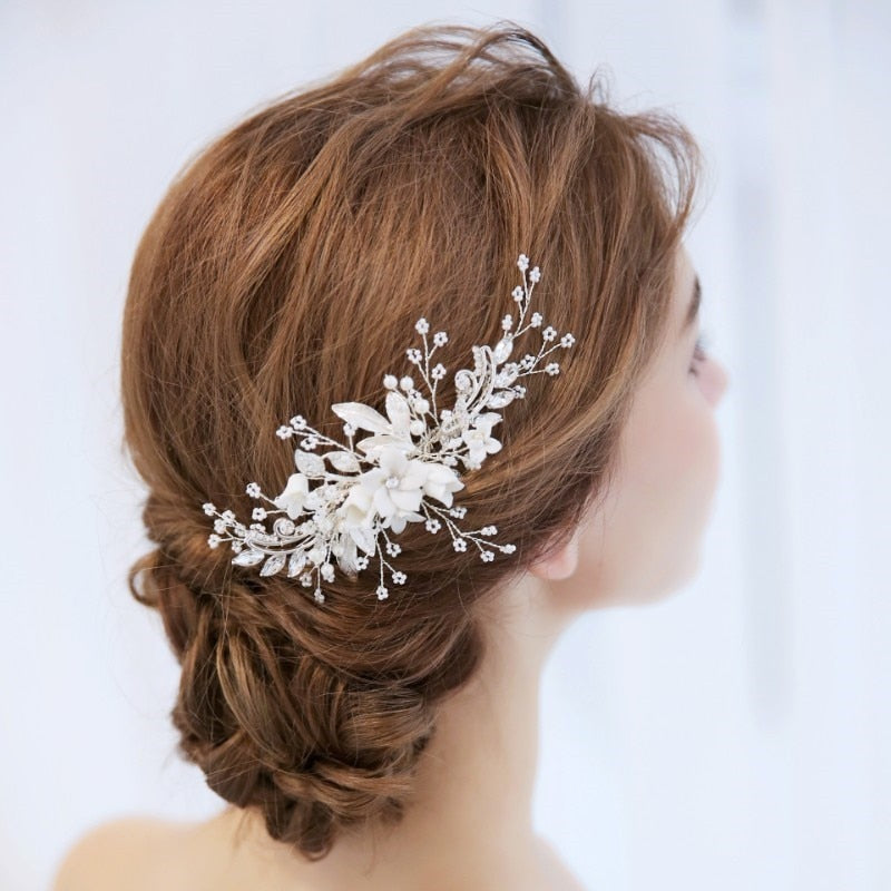 Silver Coloured Floral Hair Comb/Hair Slide with Pearls - weddingniknaks