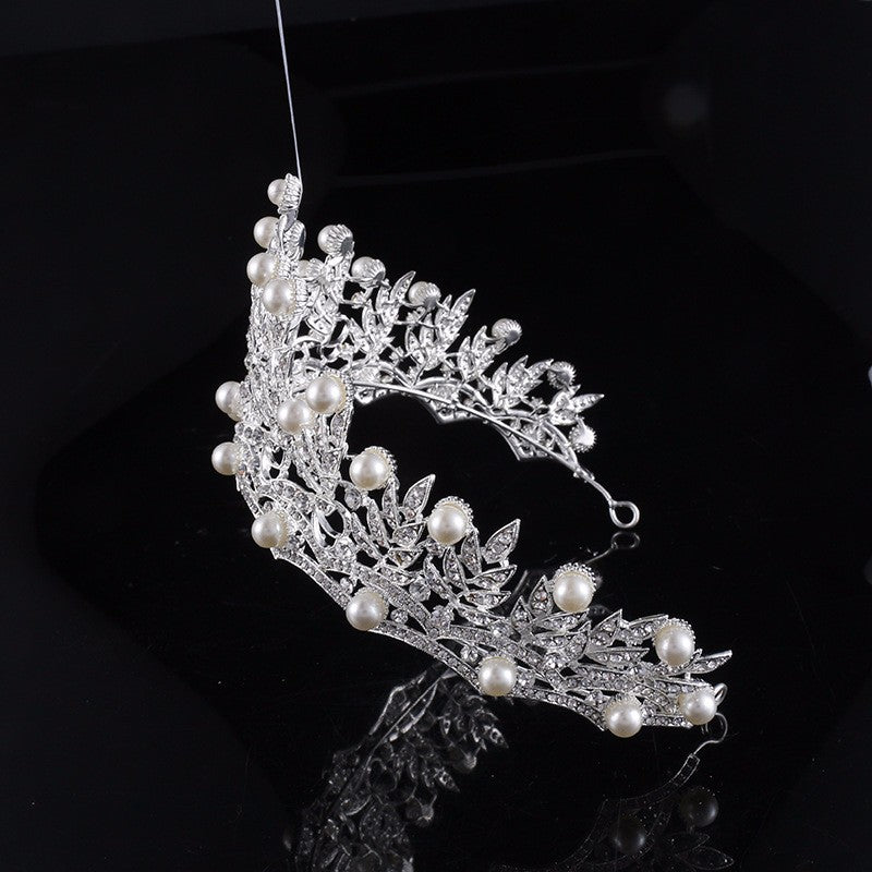 TIARA WITH RHINESTONE CRYSTAL AND PEARL - weddingniknaks