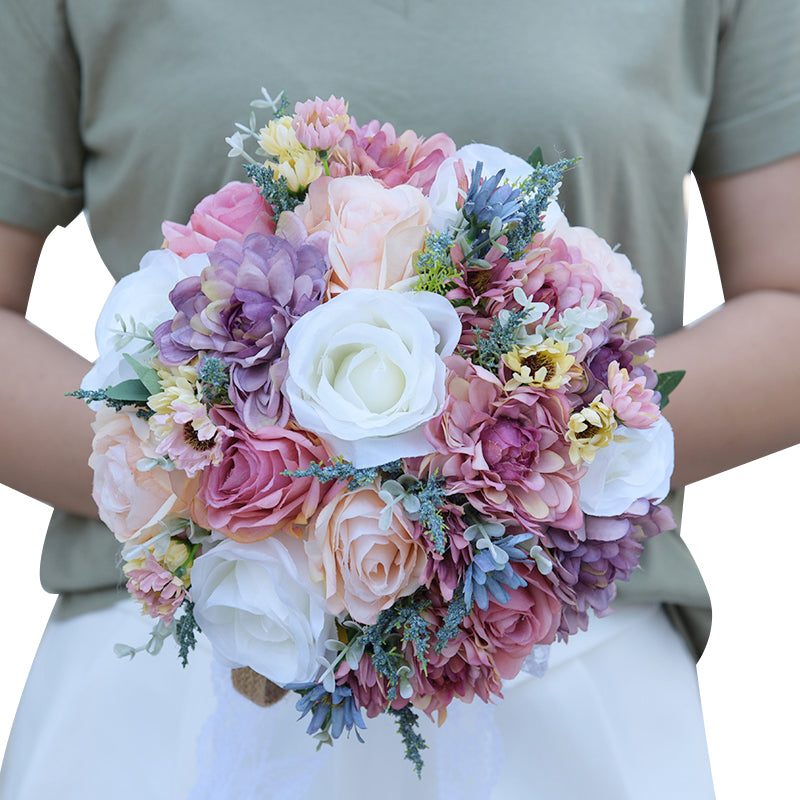 Wild Flower bridal bouquet made up of various flowers available in 2 colour options - weddingniknaks