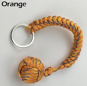 Outdoor Security Protection Black Monkey Fist Steel Ball For Girl Bearing Self Defense Lanyard Survival Key Chain Broken Windows