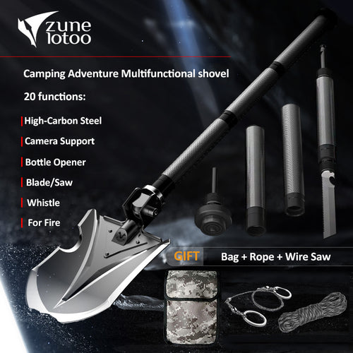Zune Lotoo Annihilate F-A2 Outdoor Tactical Folding Multifunctional Shovel,Camping Equipment, For Survival Military Hiking etc