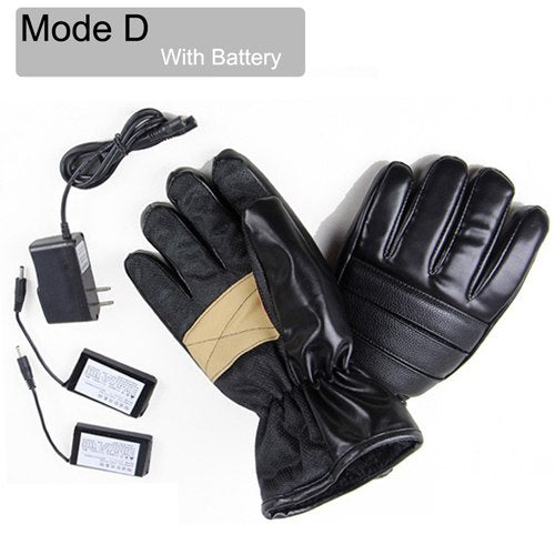New Ice Winter Fishing Heated Gloves Fingerless Men Women PU Leather Warm Full Finger Ski Cycling Hunting USB Waterproof Gloves