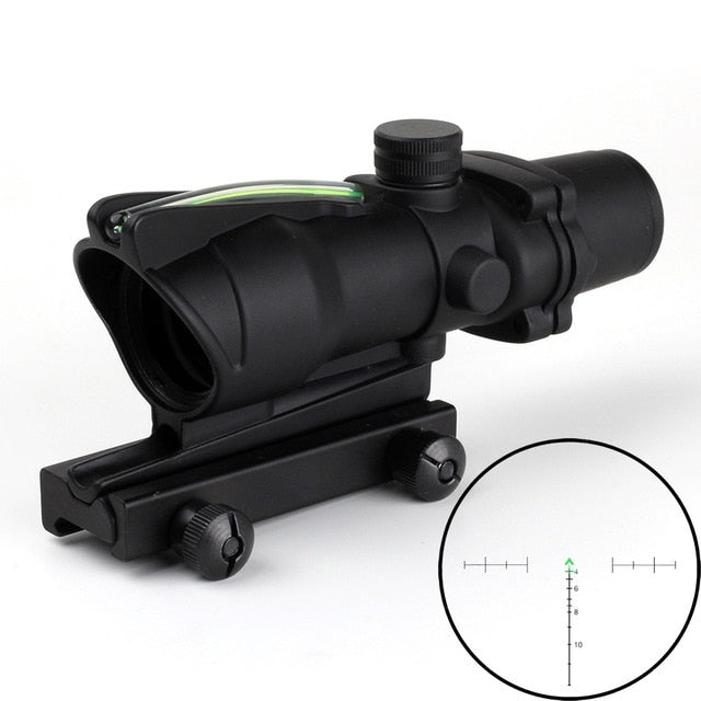 CRUSHUNT Hunting Riflescope ACOG 4X32 Real Fiber Optics Red Green Illuminated Chevron Glass Etched Reticle Tactical Optical Sigh