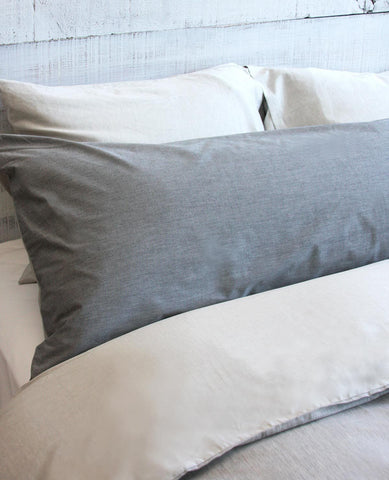 Chambray Grey and Charcoal Body Pillow