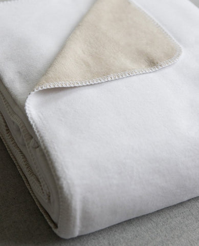 reversible cotton blanket white