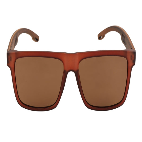 OPTA SG-011 Wayfarers Designer Polarized Bamboo Wood Sunglasses with 100% UV Protection for Unisex (Bamboo Wood with Brown Lens)