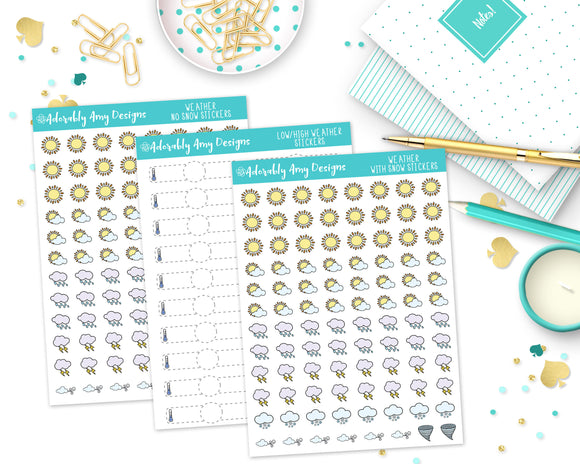 Transparent Weather Stickers - Kawaii Optional for Erin Condren, Plum Planner, Inkwell Press or Filofax or Personal Planners