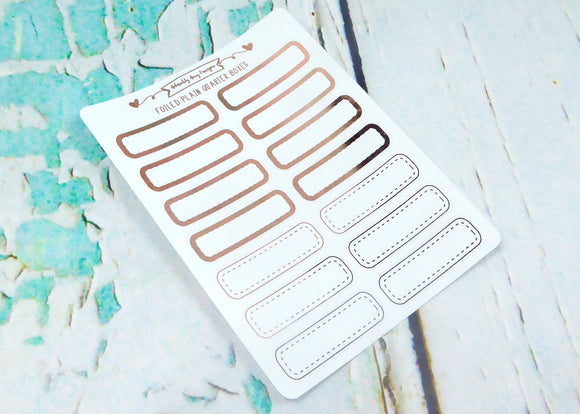 Foiled Plain Quarter Boxes Two Styles Planner Stickers for Erin Condren, Plum Planner, Inkwell Press, or Any Size Planners - Adorably Amy Designs