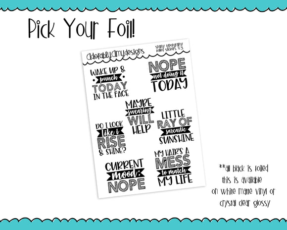 Foiled Snarky Fun Typography V3 Planner Stickers for Erin Condren, Plum Planner, Inkwell Press, or Any Size Planners - Adorably Amy Designs