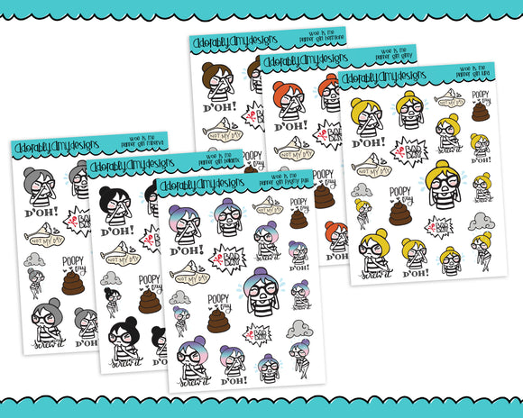 Planner Girls Character Stickers Woe is Me Bad Day Planner Stickers for Erin Condren, Plum Planner, Happy Planner, or Any Size Planners