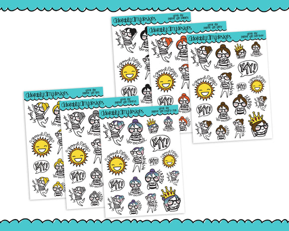 Planner Girls Character Stickers Great Day Happy Day Planner Stickers for Erin Condren, Plum Planner, Happy Planner, or Any Size Planners