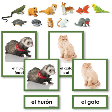 Language Arts-Spanish - Spanish Pets 3-Part Cards With Objects
