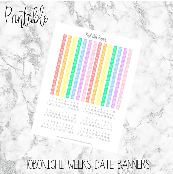 Hobonichi Weeks Pastel Date Covers Printable Planner Stickers