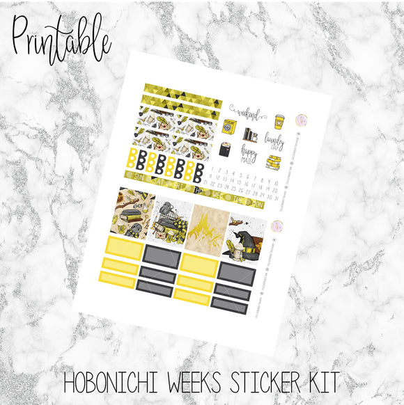 Hobonichi Weeks Yellow House Printable Planner Stickers