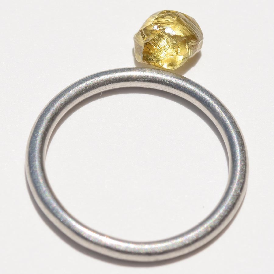 1.13 carat golden lime freeform rough diamond