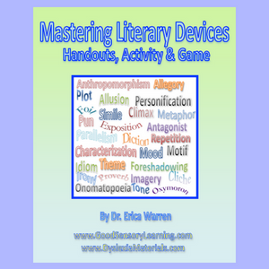 This digital download offers some quick and easy handouts that review the 40 most common Literary Devices.