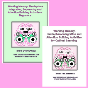 Working Memory & Hemisphere Integration Bundle Digital Download offers cognitive remedial activities that strengthen working memory, attentional skills, mental flexibility and processing speed.