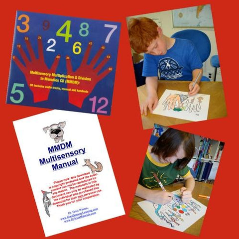Multisensory Multiplication and Division to Melodies (MMDM) offers an audio and a text product in one. These multiplication materials make learning math facts fun, memorable, and multisensory.