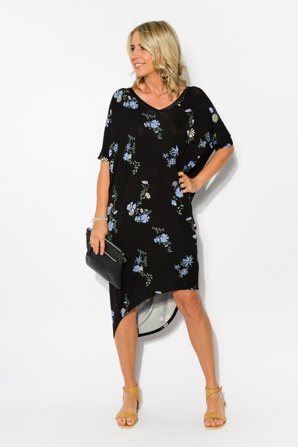 Sybil Black Floral Bamboo Batwing Dress - Blue Bungalow