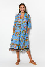 Mareeba Blue Floral Sleeved Cotton Dress - Blue Bungalow