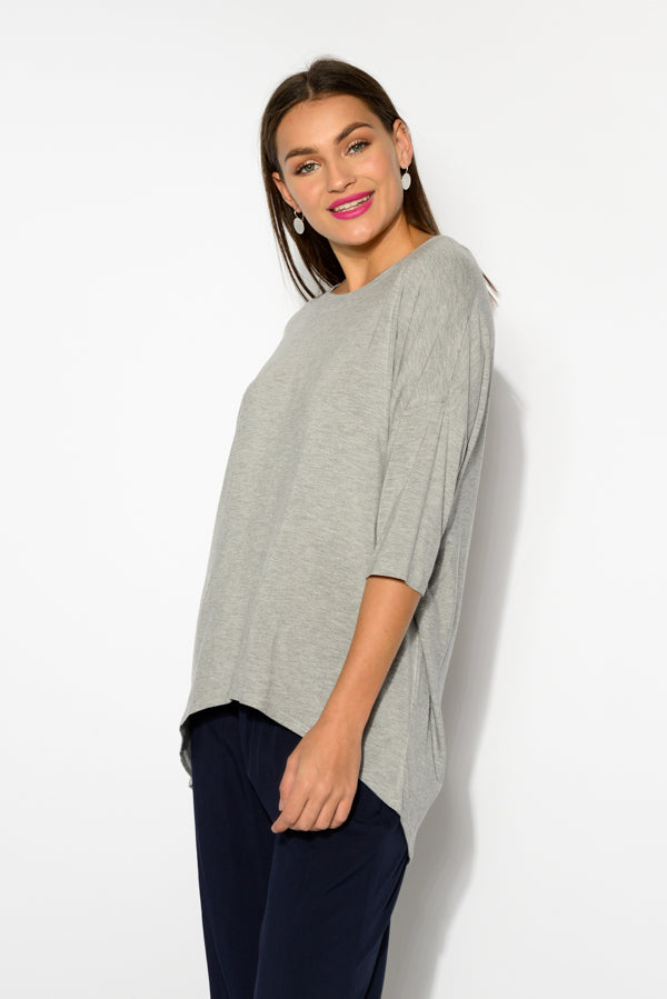 Spencer Grey Marle Bamboo Top - Blue Bungalow