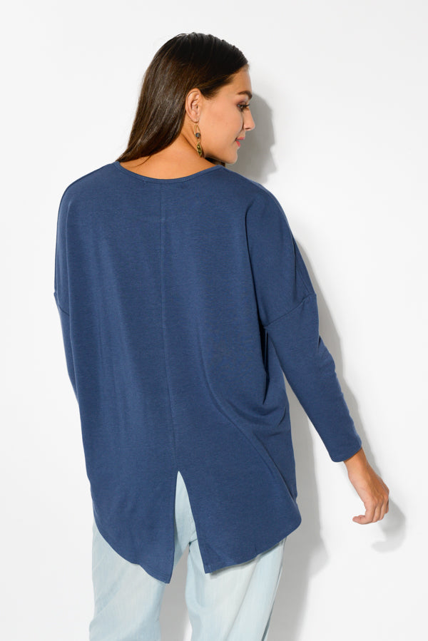 Blue Split Hem Top - Blue Bungalow