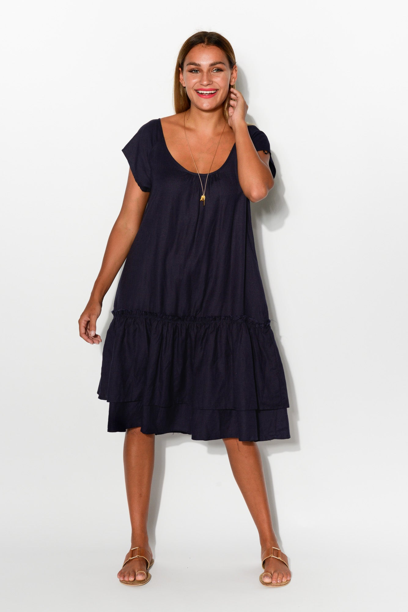 Gabby Navy Linen Blend Dress - Blue Bungalow