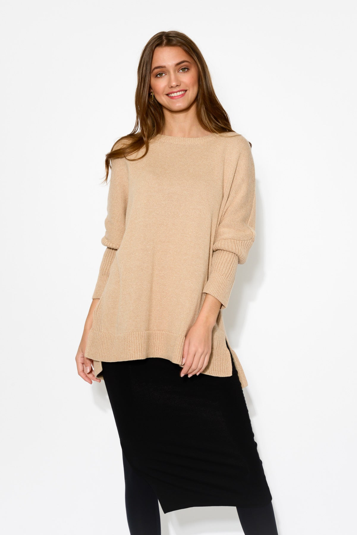 Beige Relaxed Cotton Knit Jumper - Blue Bungalow