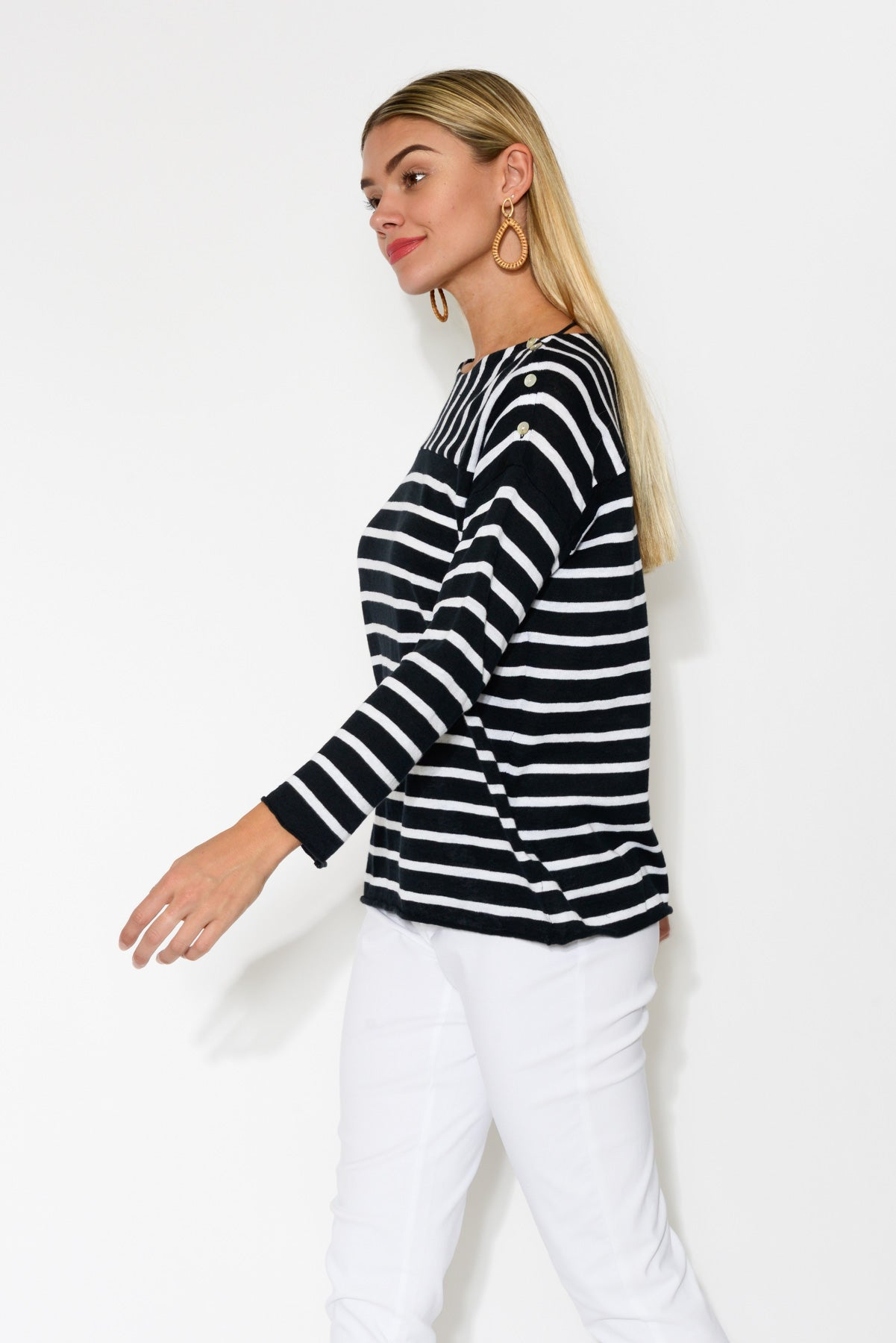 Breton Navy Stripe Linen Blend Top - Blue Bungalow