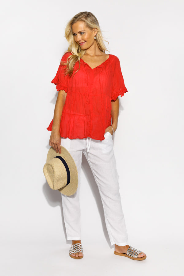 Heather Red Crinkle Cotton Top - Blue Bungalow