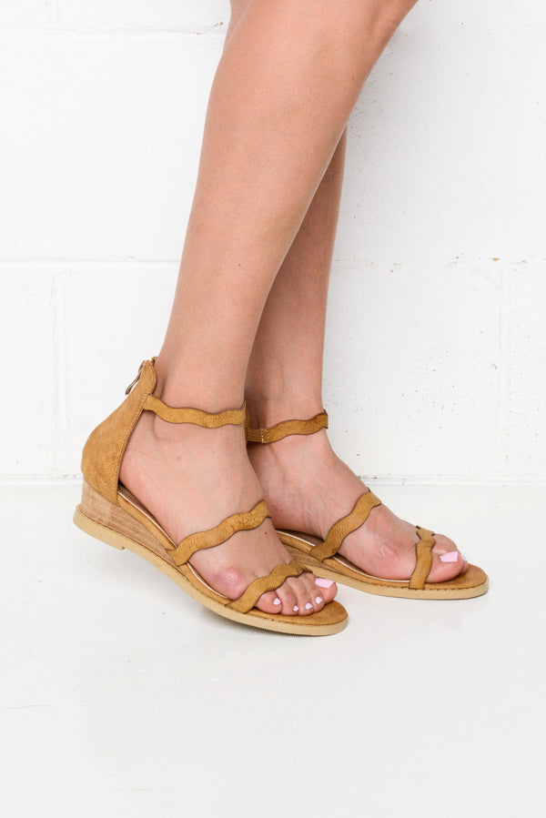 Olley Camel Wedge Sandals - Blue Bungalow